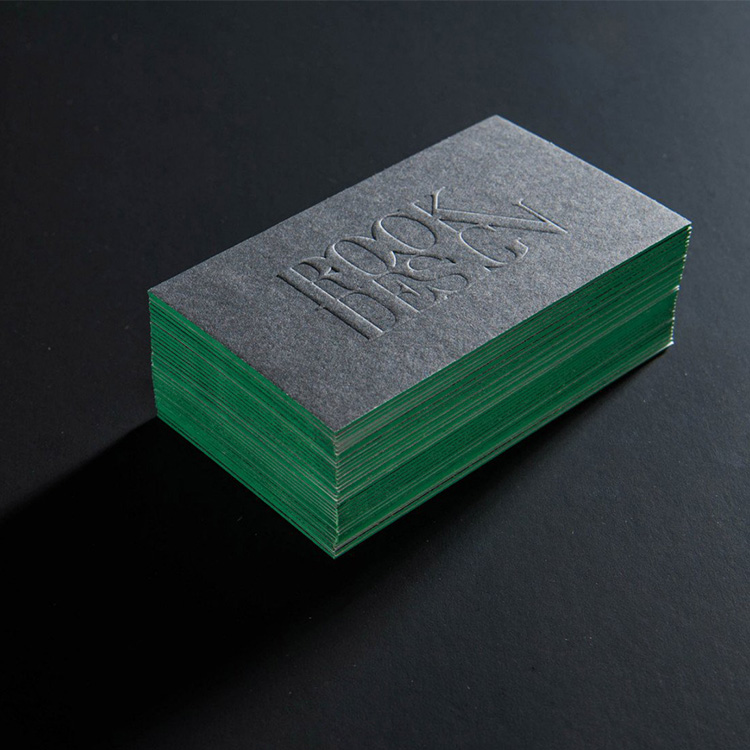 100pcs promotional custom colored edge thick embossing cotton paper business card