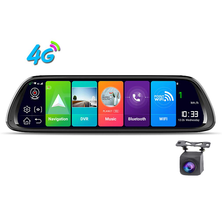 12 inch IPS screen stream media rearview mirror dash cam 4G lens car monitor car black box