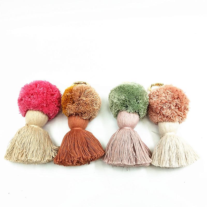 100% Cotton PomPom Tassel Keychain & Pompom keychains supplier