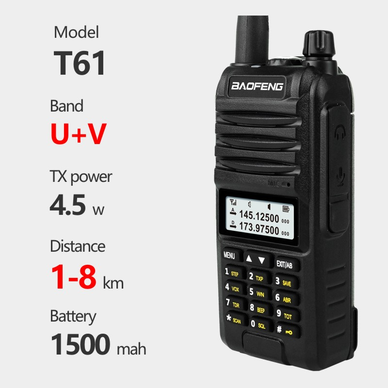 T61 speede BAO FENG BF-5R plus Dual-Band Two Way Radios Long Range Walkie Talkies Rechargeable UHF/VHF Portable 5 Way Radio