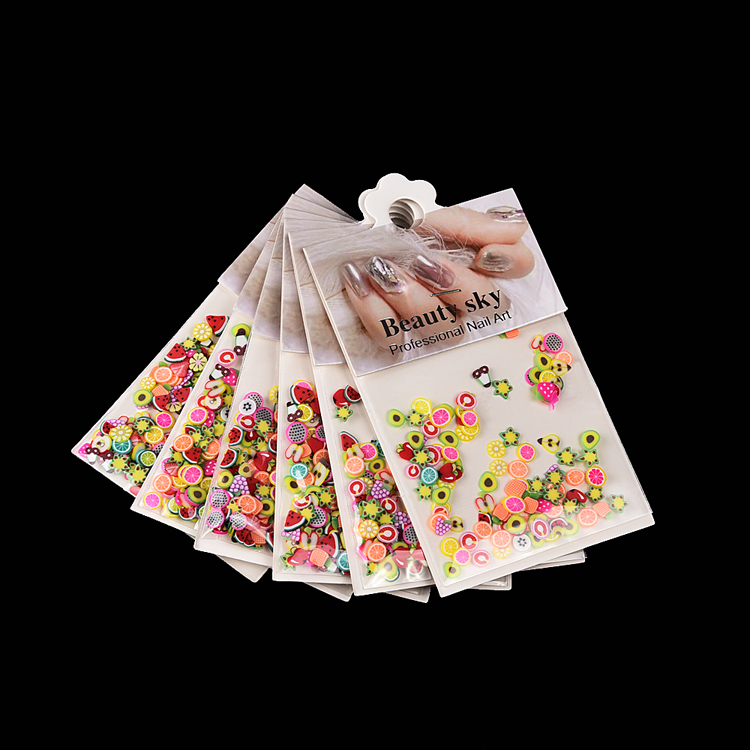 6 bags/set nail design cheap wholesale nontoxic 3d fruit sticks nails art slices mixed shapes colorful fruits for nails