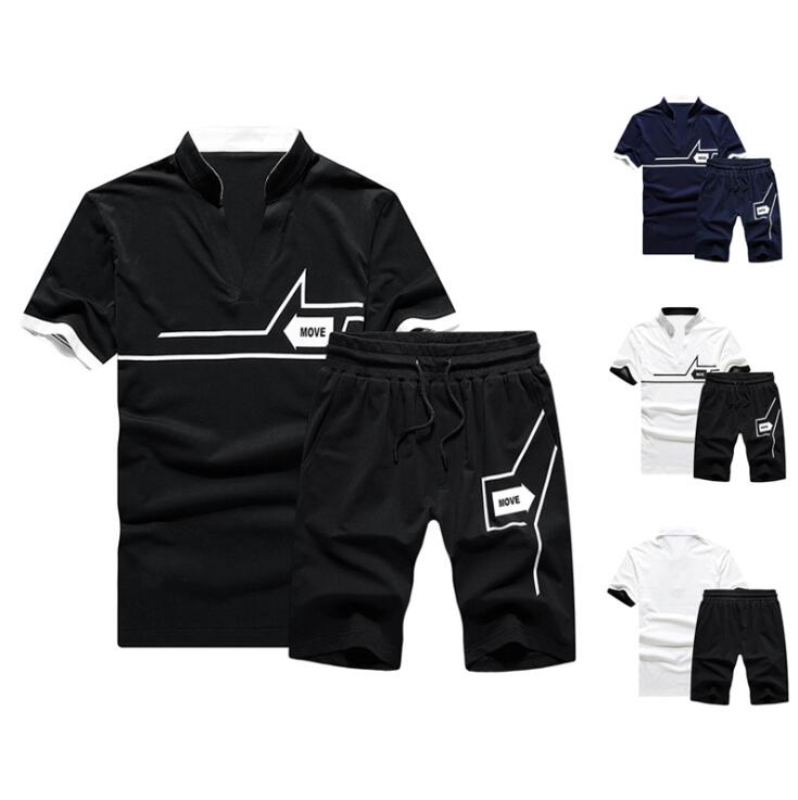 men jogging track suit sports clothing including Tshirt shorts 2 pcs in a set