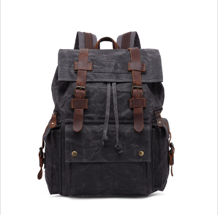 15.6 inch Laptop Canvas business Backpack Unisex Vintage Leather Casual Rucksack