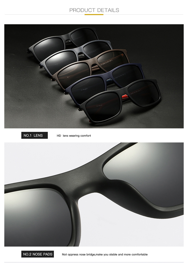 Male driving eyewear case custom logo polarized TR 90 sunglasses