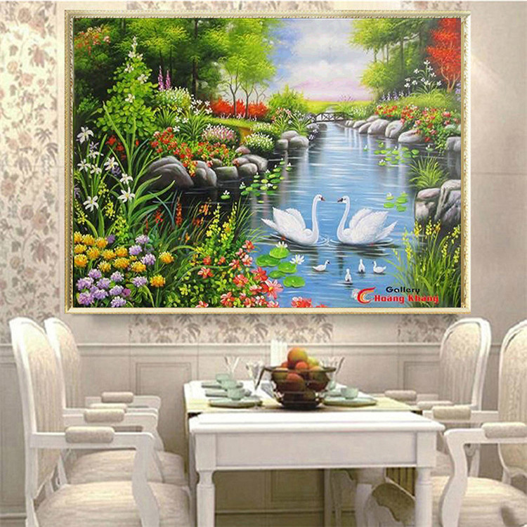 Grosir Pemandangan Bordir Cross Stitch Pegunungan dan Sungai Cross Stitch Lukisan Bordir