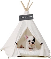 Pet Teepee Dog Canvas Cat Bed Portable Dog Teepee Tents Washable Pet Houses