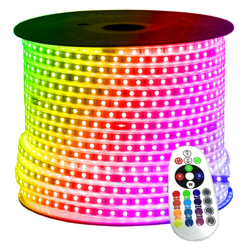 220V 5050 RGB Flexible LED Strip Lights with Remote Controller for Home Hotel Party KTV