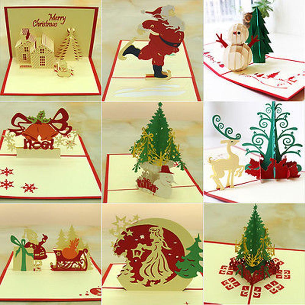 3D Pop Up Greeting Card Handmade Happy Birthday Merry Christmas ...