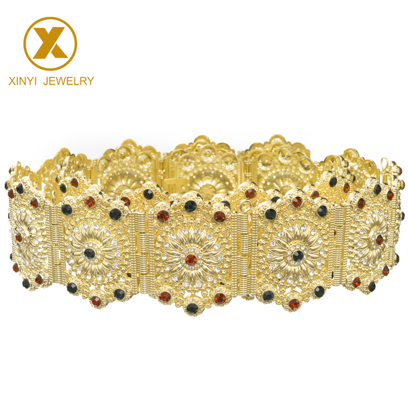 European ladies floral carved jewelry belly chain fashion long sleeve ladies wedding dress metal belt
