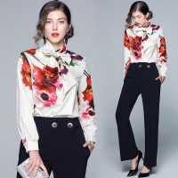 2019 Wholesale New Fashion Ladies Blouses Slim Women Flower Printed Blouse Office Work Wear Shirts Women Blusas