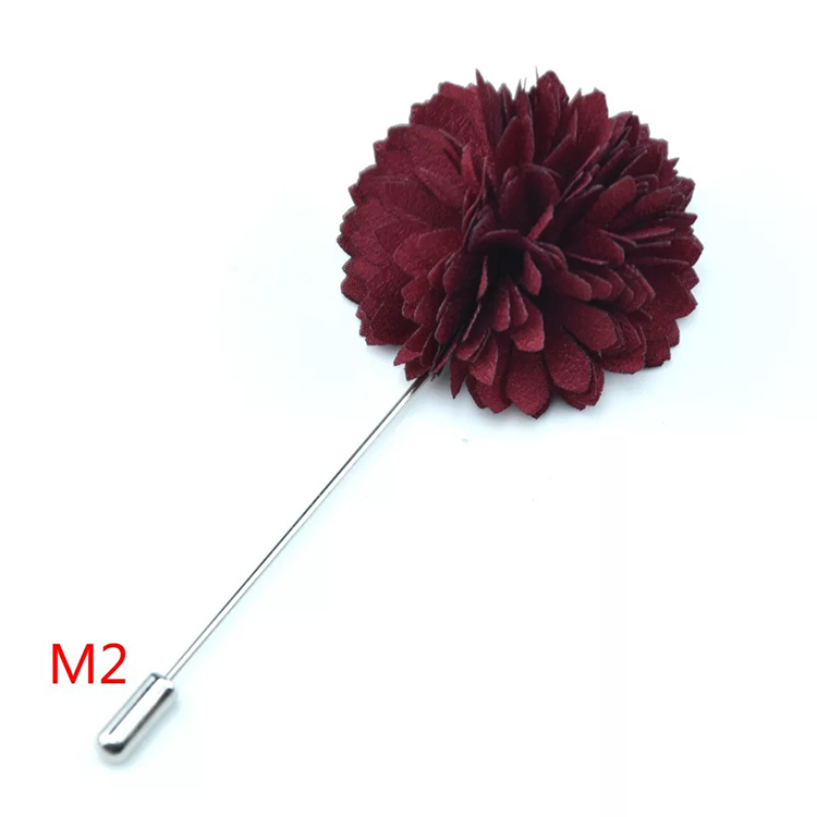 China Wholesale Solid Flower Fabric Lapel Pin Groomsman Fashion Boutonniere