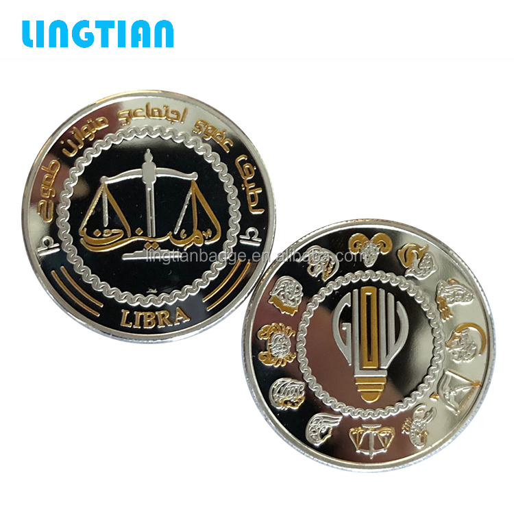 New Design Twelve Constellation Silver Gold Commemorative Cancer Taurus Virgo Libra Engraved Coin Custom In Metal
