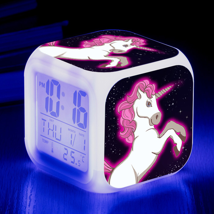 Customized design LED 7 Colour Changing Digital Alarm Clock Thermometer Night Light children kids cube desk table Clock