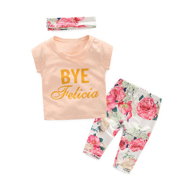 Wholesale Baby Girls Clothes Set Floral Printed Summer Kids Clothing Suit Headband Three-piece set