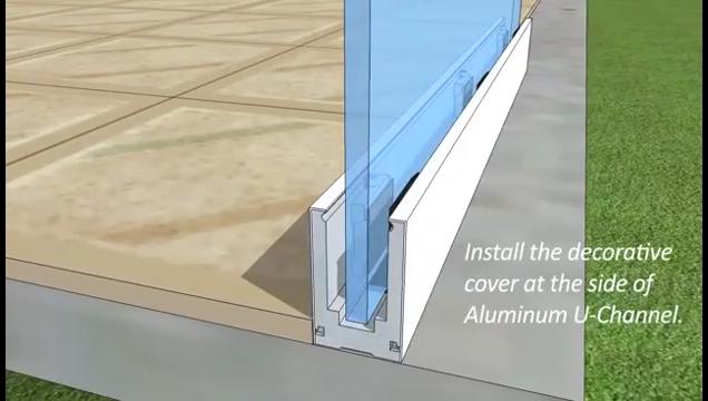 אלומיניום אבטחת מעקות, אלומיניום מתכת ללא מסגרת פרופיל U ערוץ מהדק זכוכית מעקה