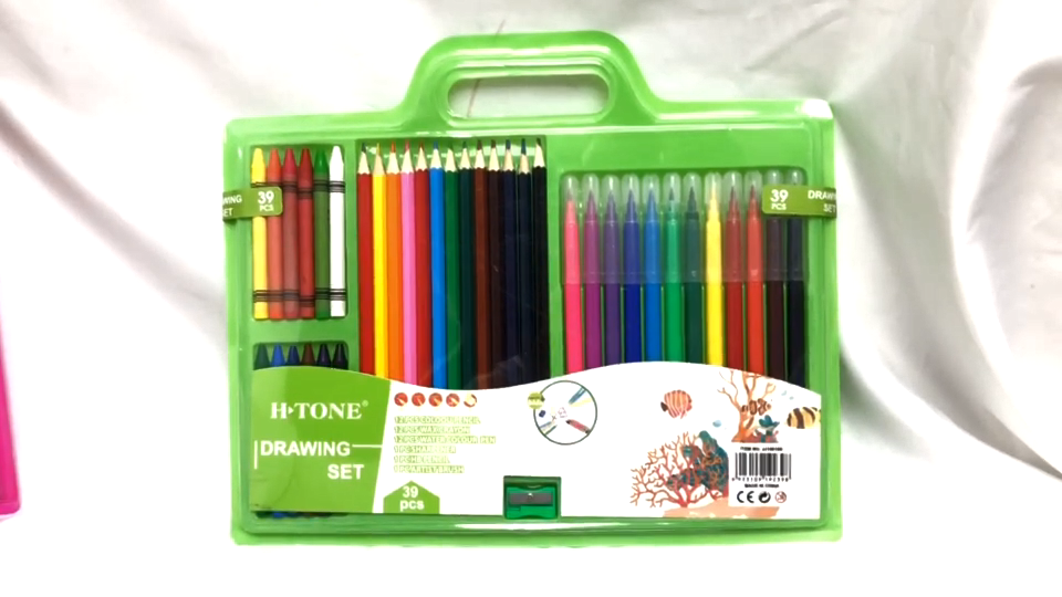 ड्राइंग सेट पानी के रंग का पेंट/रंगीन पेंसिल/पानी के रंग का पेन स्टेशनरी 39pcs पेंट सेट बच्चों के छात्रों को उपयोग