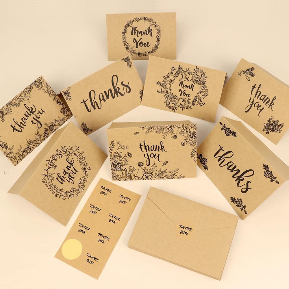 Ourwarm 8 Pcs Undangan Pernikahan Huruf Kartu Ucapan Terima Kasih Kartu dengan Amplop untuk Tamu Convites Casamento