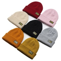 Factory Wholesale Custom Cheap Promotion Plain Unisex Winter Keep Warm Knit Hat Beanie With Leather Logo