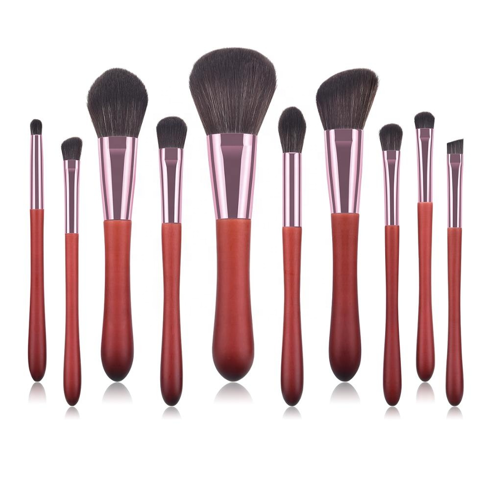 Wholesale 10PCS BS-MALL Wholesales OEM Red Synthetic <strong>Makeup</strong> brushes set free <strong>sample</strong>