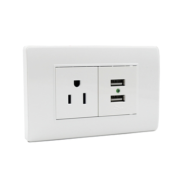 White color America standard electric usb socket 3 pin plug socket with usb