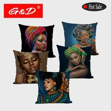 G & D Mujer Africana retrato <span class=keywords><strong>de</strong></span> lino asiento <span class=keywords><strong>de</strong></span> impresión sofá <span class=keywords><strong>funda</strong></span> <span class=keywords><strong>de</strong></span> <span class=keywords><strong>cojín</strong></span> decorativa abstracta