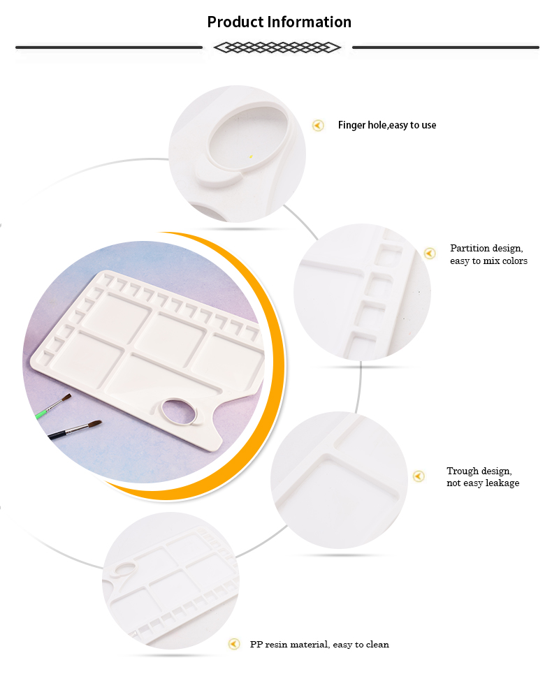 BLOT TS-018C High Quality Artist Painting Square Hole White Plastic Palette For Art Manufacturer