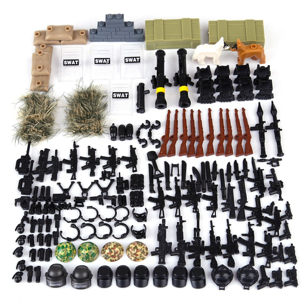 wholesale WW2 Building Block Bricks Plastic Figure Toy Set Military Army Battle Swat Weapon Kit for legoing WW2 Toys