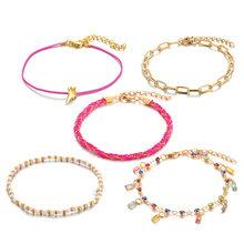 Богемные Многослойные браслеты, набор золотых цветов, сердце, звезда, стразы в виде ракушки, бусины, очаровательные женские браслеты на запя...(Китай)