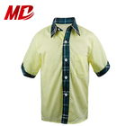 Children School Uniforms Yellow Short Sleeve Shirts with Green Pattern for Boys