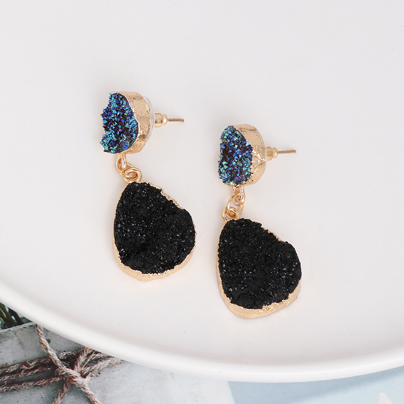Trade assurance unique agate stone water drop earrings natural resin stone dangle druzy earrings