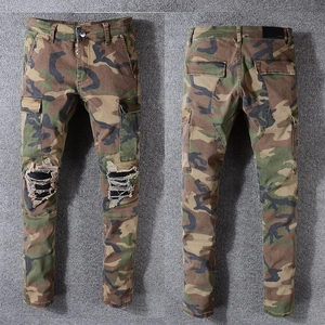 Wholesale custom skinny Shredded rips men jeans biker cotton camo pant