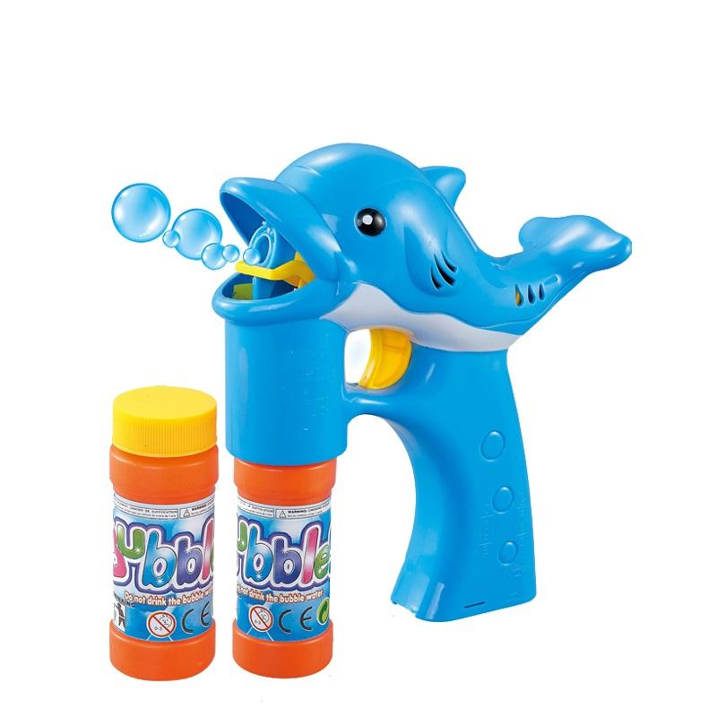Outdoor bubble gun 2 bottle bubble water set lovely dolphin bubble machine for kids