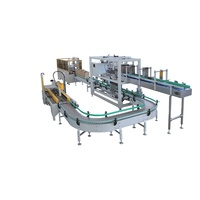 Automatic drop and grape type case packer for cans or bottles with tape