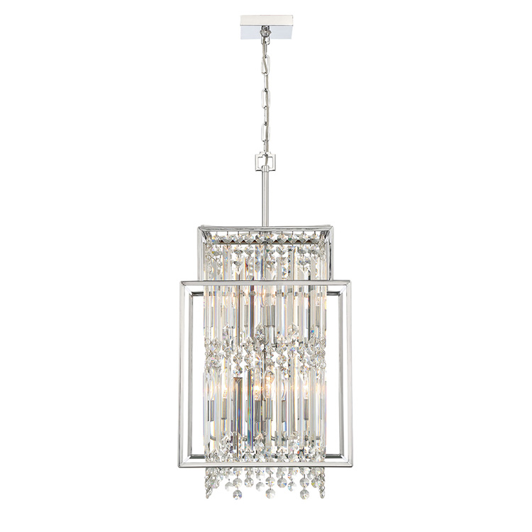 2020 New Luxury 8 Lights Square Ceiling Hanging Chandelier Clear Crystal For Hotel In Chrome Finish