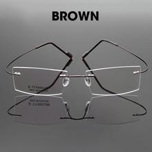 Титановый сплав оптические эластичные женские очки прозрачные мужские без оправы гибкая рама бескаркасные солнцезащитные очки De Grau очки(Китай)