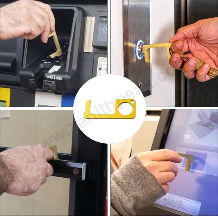 คุณภาพดีที่กำหนดเองโลหะสีไม่มีTOUCH Contactขวดประตูเปิดพวงกุญแจเครื่องมือ