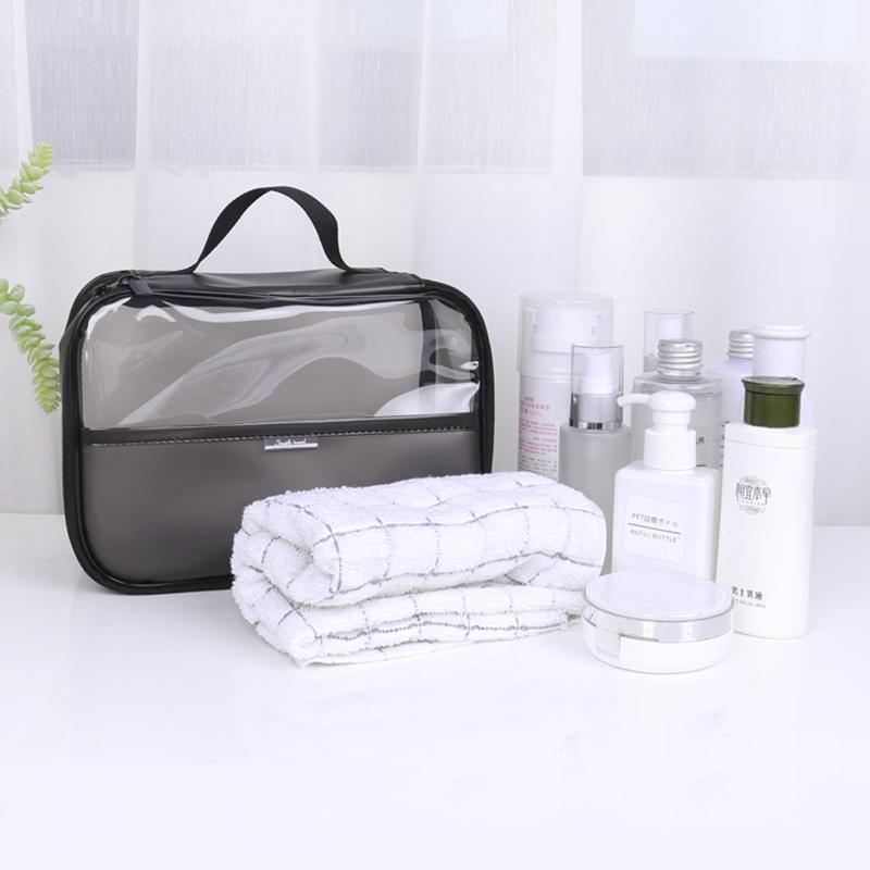 Pvc 화장품 여행 가방 호화로운 지퍼 패키지 투명 화장품 가방 패션 블랙 액세서리 메이크업 가방