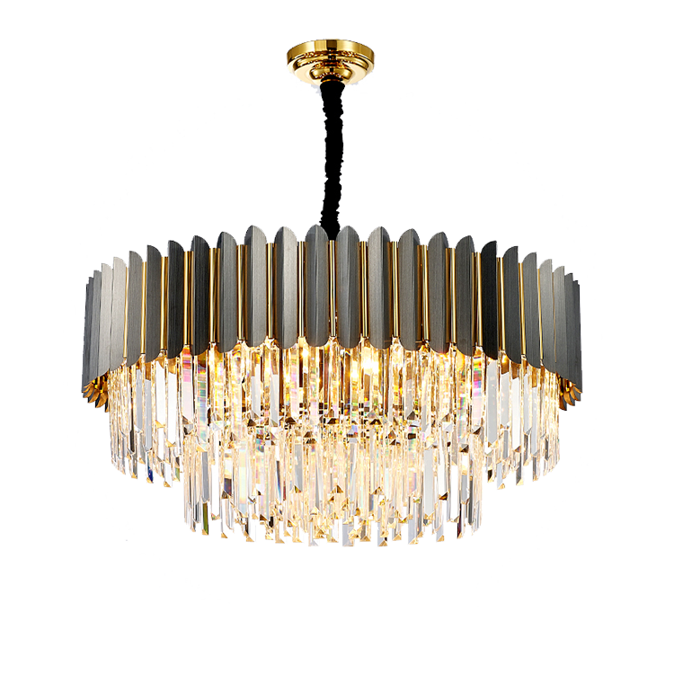 Wholesale Price Black Lamp Frame Stainless Steel Contemporary Crystal Chandeliers  Pendant Light