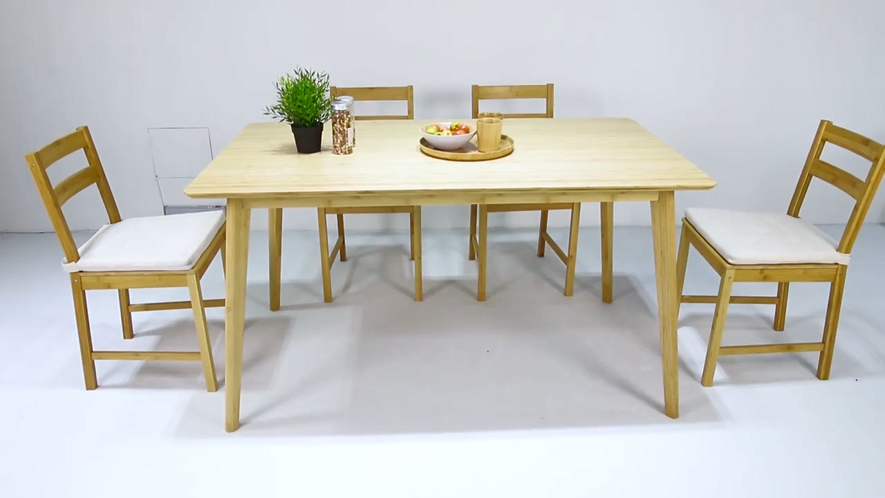 Bambkin Rectangelar Bambu Dapur Modern Meja Makan Meja Makan 100% Alami