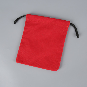 Red color cotton drawstring pouch packaging gift bag logo printed jewelry christmas bag
