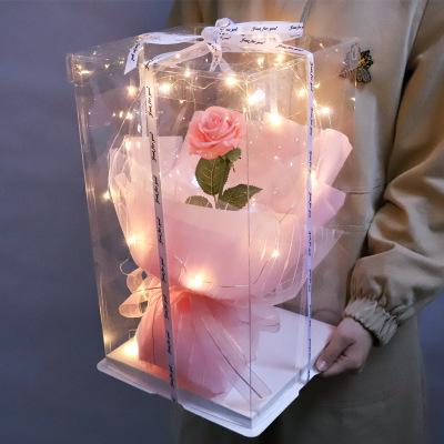 Nieuwe Luxe Moeders Dag Gift Trouwen Transparant Rose Bobo Ballonnen Engagement Gift Led Bobo Rose Ballon Met Clear Geschenkdoos