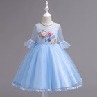2020 Summer Style Girls Lace 3D Flower Dress Kids Wedding Birthday Party Princess Dresses