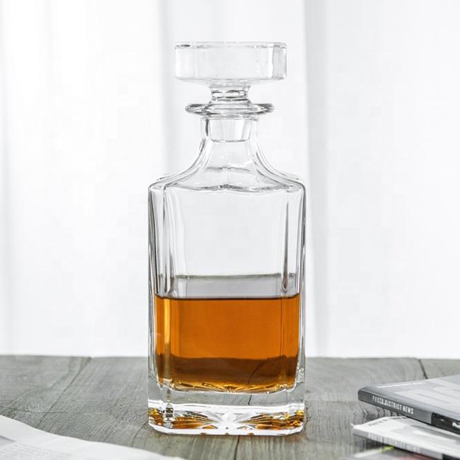 25 унций квадратный 100% бессвинцовый кристаллический графин для стеклянного виски