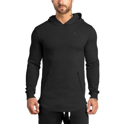 100% Cotton Logo OEM Sports Jumper hoodie Pullover Blank Black custom fitness hoodies men