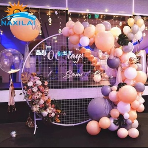 NAXILAI Wedding Occasion Outdoor White Round Mesh Wire Metal Backdrop Stand Flower Wall Mesh Screen