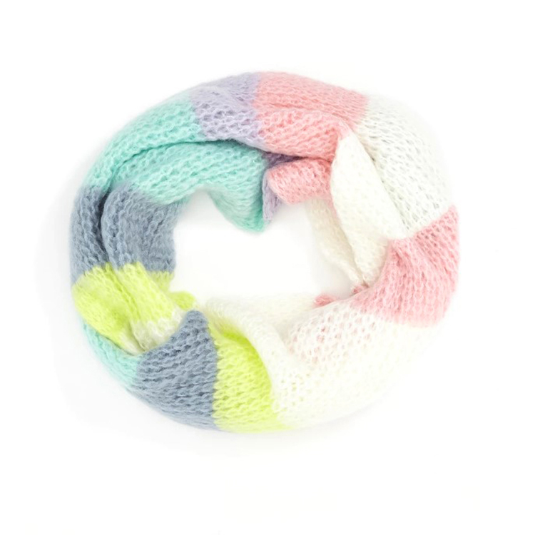 Customized women holiday warm colorful knitted cashmere acrylic scarf