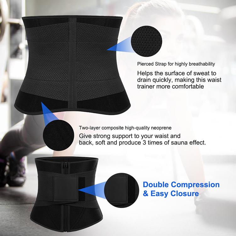 Custom Logo Compression Elasticity Sauna Sweat Neoprene Slimming Waist Trainer Workout Back Support Waist Trimmer Belt