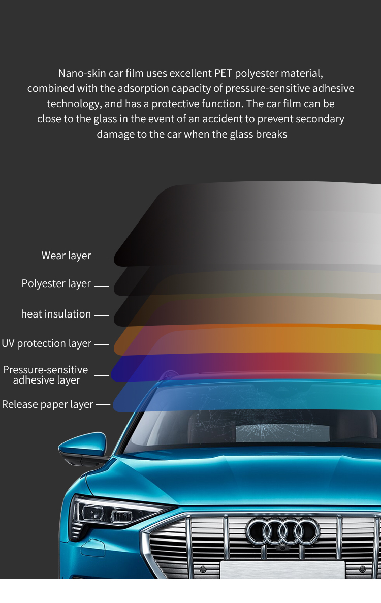quality high clear 65% vlt windshield heat reflective plastic nano ceramic window tint film