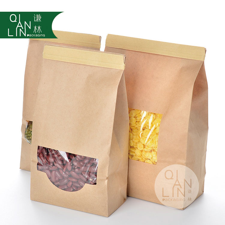 Eco Friendly Side Gusset with Clear Window kraft Paper Tin Tie Coffee Bags For Food Packaging