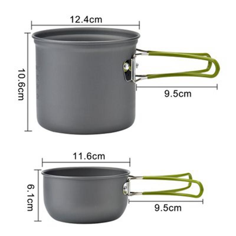 Hot koop 8 stuks camping pannenset 7pcs aluminium kookpot Beste Kwaliteit met prijs